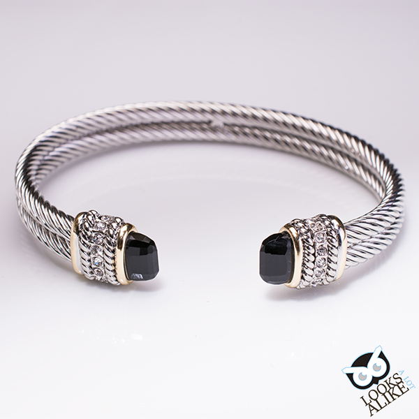 Double Cable Rhinestone Cuff Black Looks A Lot Alike Cable