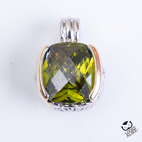 Green Two Tone Oval Pendant