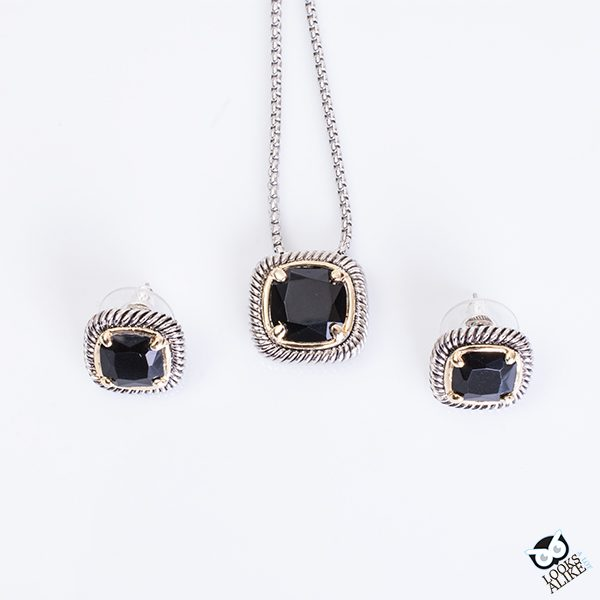 black necklace earring set
