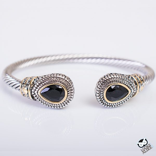 Black Teardrop Bangle