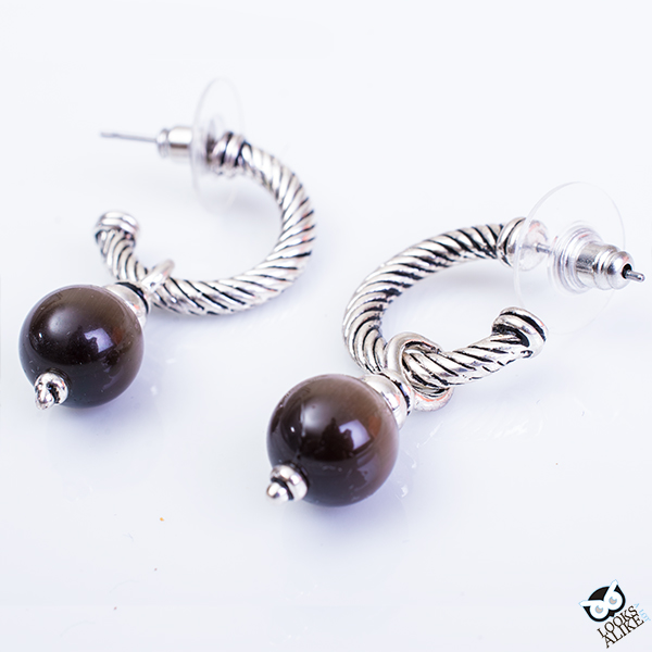 Smokey Dangling Ball Earrings