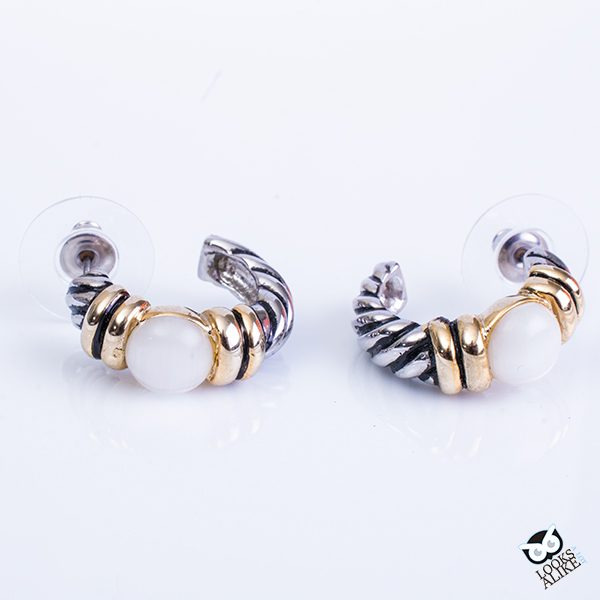 Twisted Cable Faux Pearl Earrings