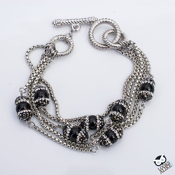 Black Onyx And Crystal Strand Bracelet Looks A Lot Alike Cable