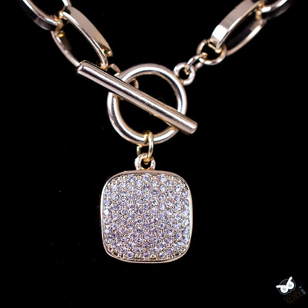 Golden Crystal Toggle Link Pendant Necklace