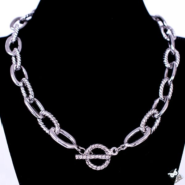 Large Silver Link Toggle Necklace