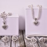 Crystal Heart Charm Station Necklace