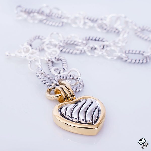 Two Tone Heart Charm Toggle Necklace