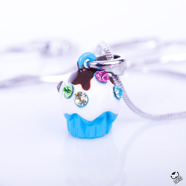 Sweet Cupcake In Blue Children's Necklace