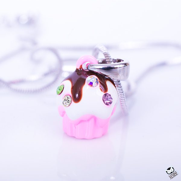 Sweet Cupcake In Pink Necklace