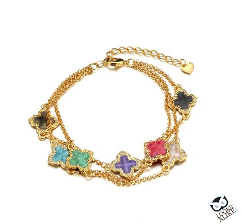 COLOURFUL CRYSTAL CLOVER STATION BRACELET