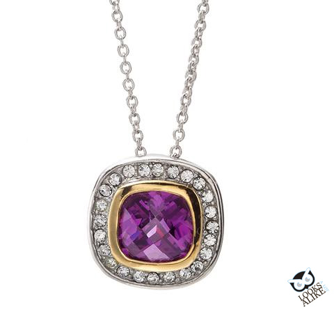 Lilac Cushion Cut Necklace