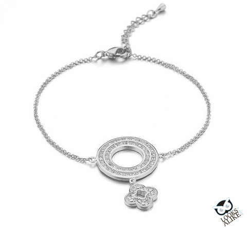 Pave Circle and Flower Charm Bracelet