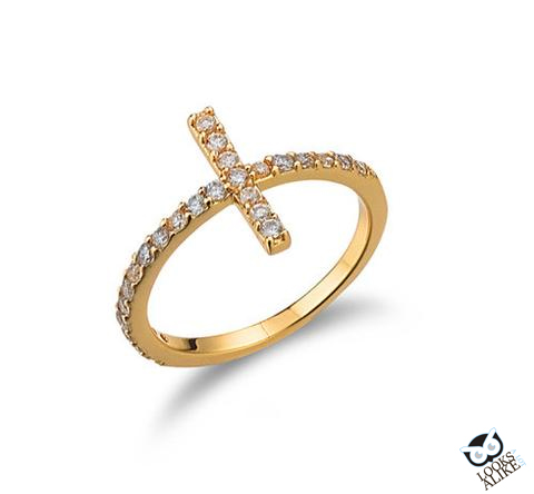Sideways-Gold-Cross-Ring