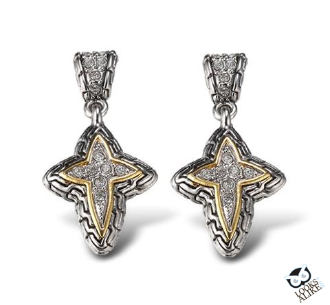Two-Tone-Cross-Drop-Earrings