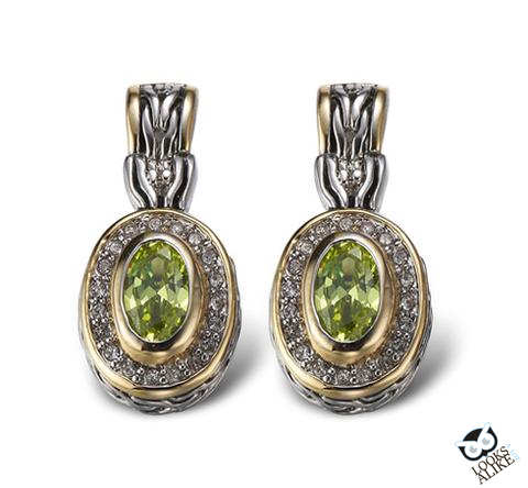 VINTAGE OVAL EARRINGS-PERIDOT