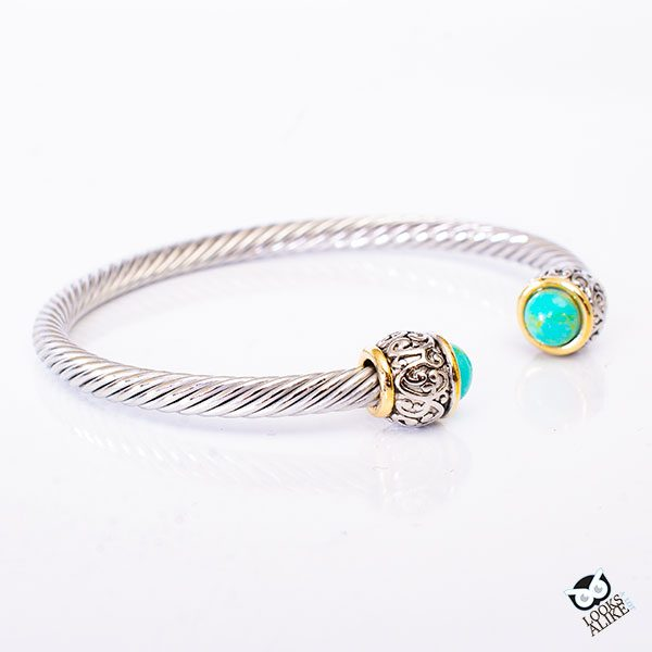 Turquoise Cable Vintage Bangle