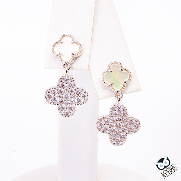 Opal And Crystal Clover Dangle Earrings