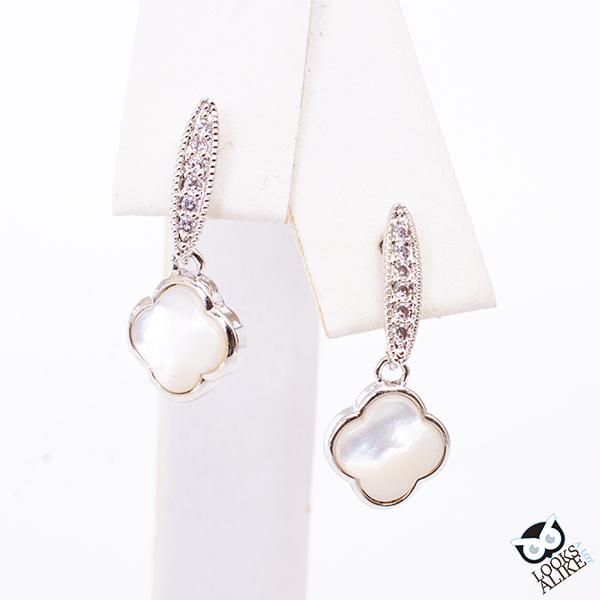 Pearl Clover And Crystal Dangle Earrings