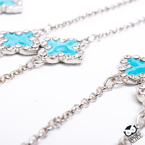 Blue Clover Necklace And Earring Set
