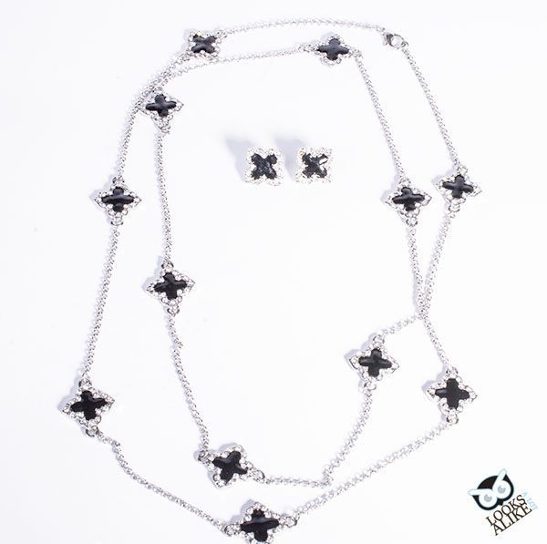 Black Clover Necklace And Earring Set