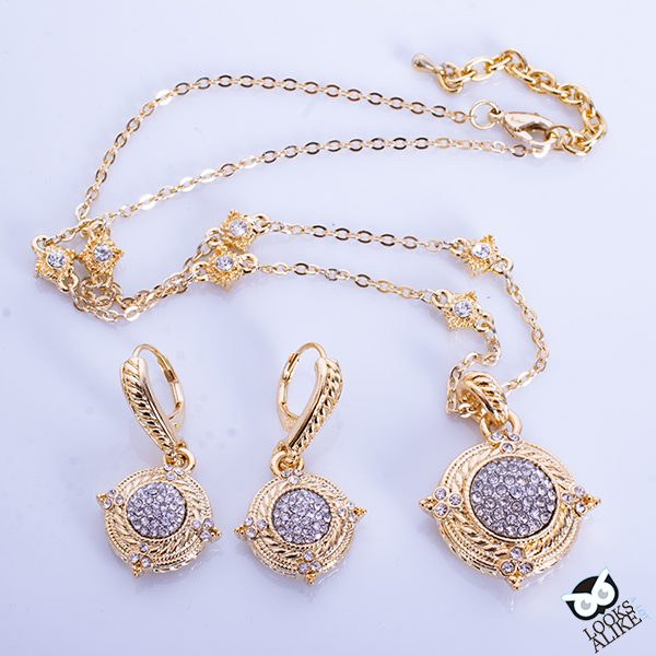Dressy Vintage Golden Necklace And Earring Set