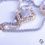 Crystal Clover Pearl Station Strand Necklace 36 inch