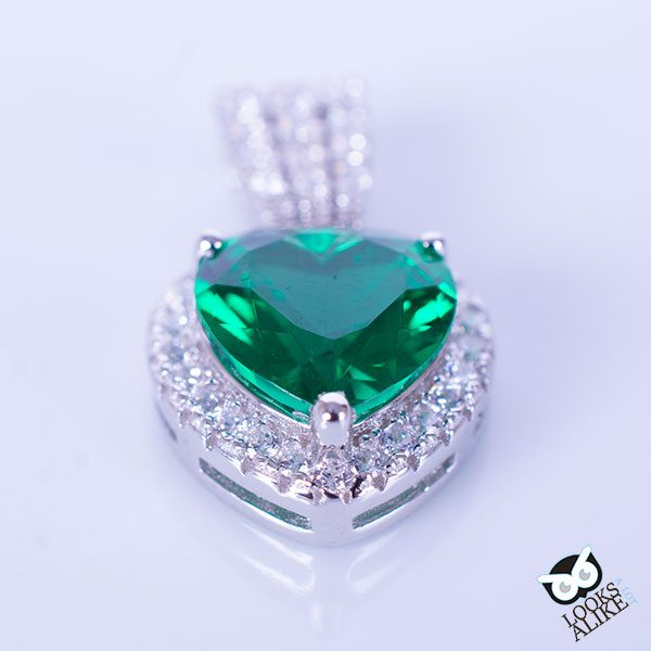 Sterling Emerald Heart Pendant