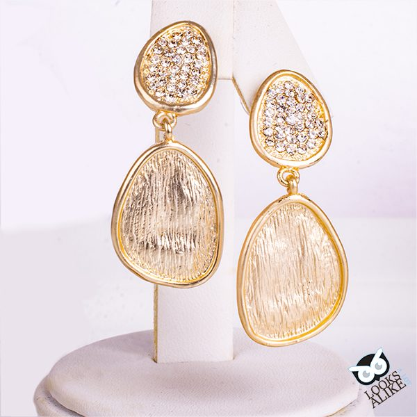 Brushed Gold And Crystal Drop Earrings
