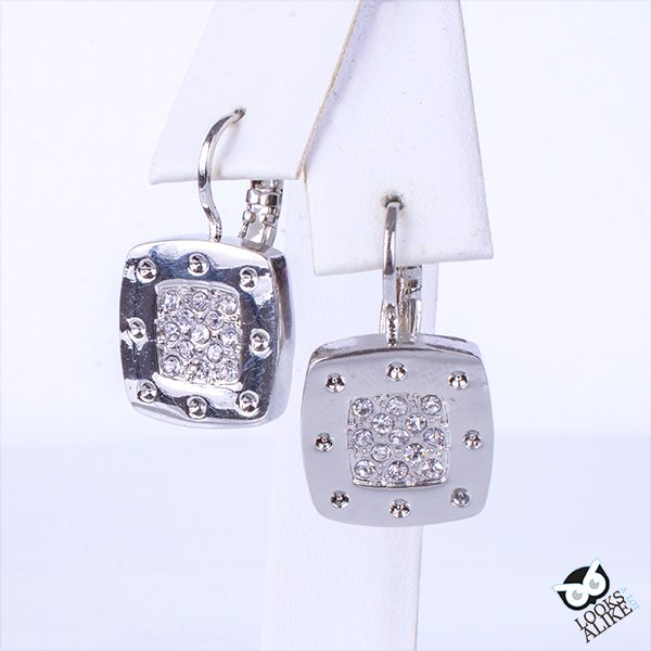Pave Rivet Drop Earrings