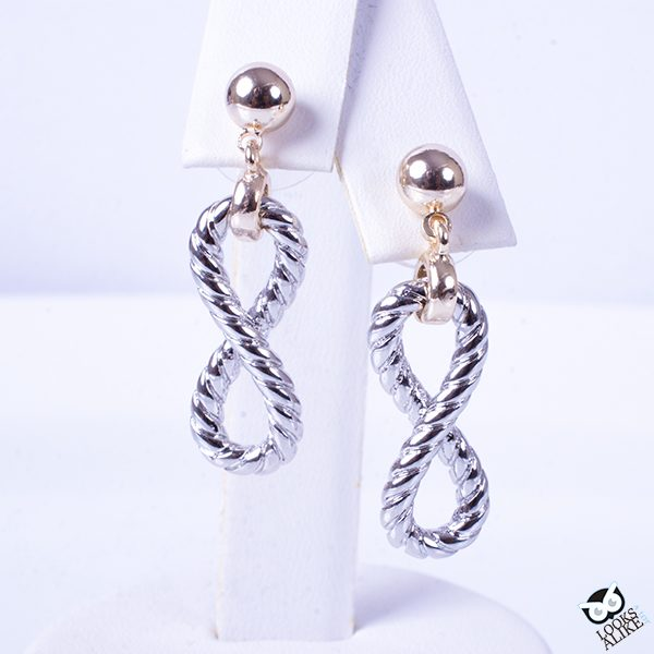 Infinity cable fashion dangle earrings