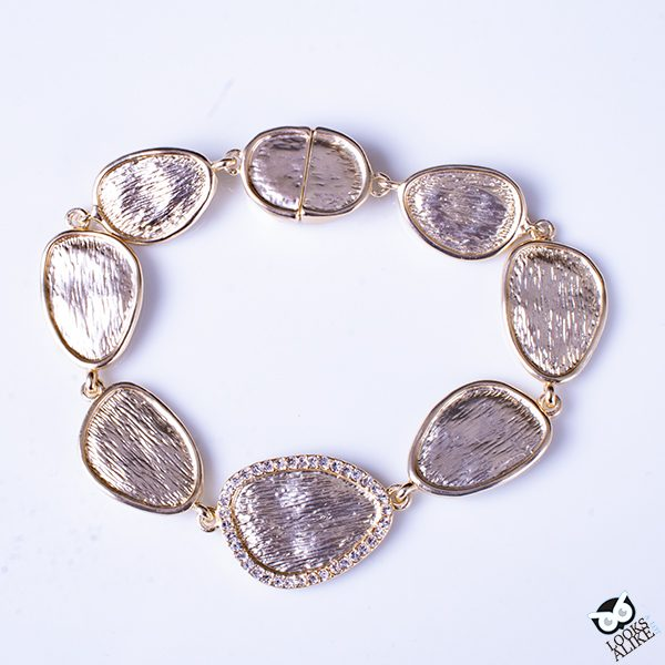 Brushed Gold And Crystal Bracelet