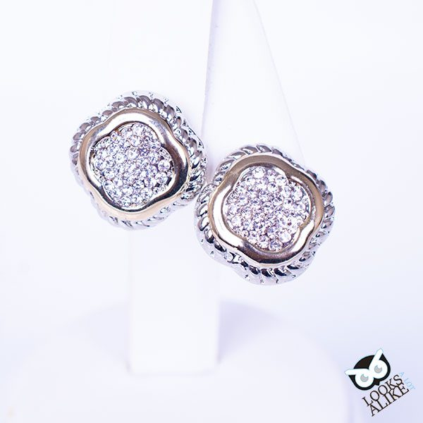 Pave Crystal Clover Earrings