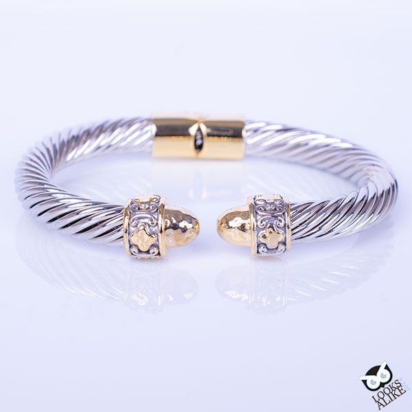 two tone clover bangle