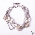 pearl and crystal clover toggle bracelet