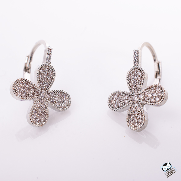 Silver Crystal Clover Earrings