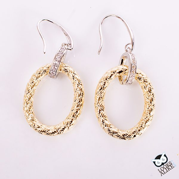 Golden Braided Crystal Earrings