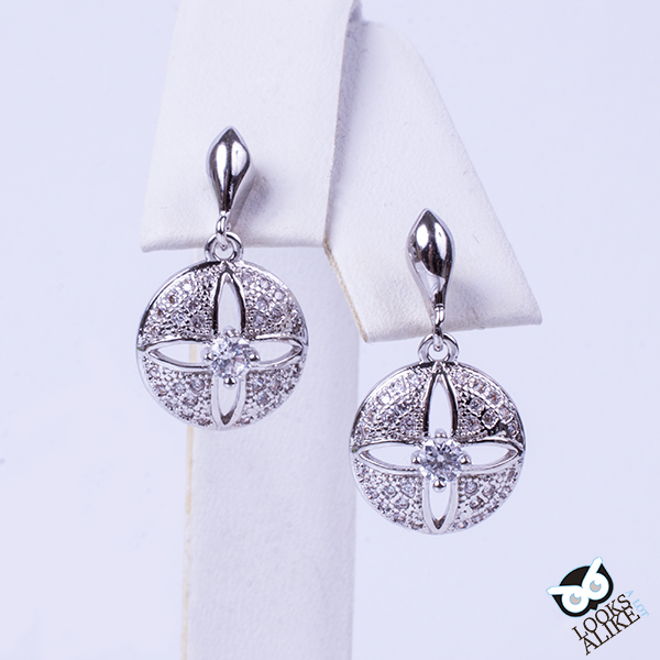 Silver and Crystal Sand Dollar Earrings