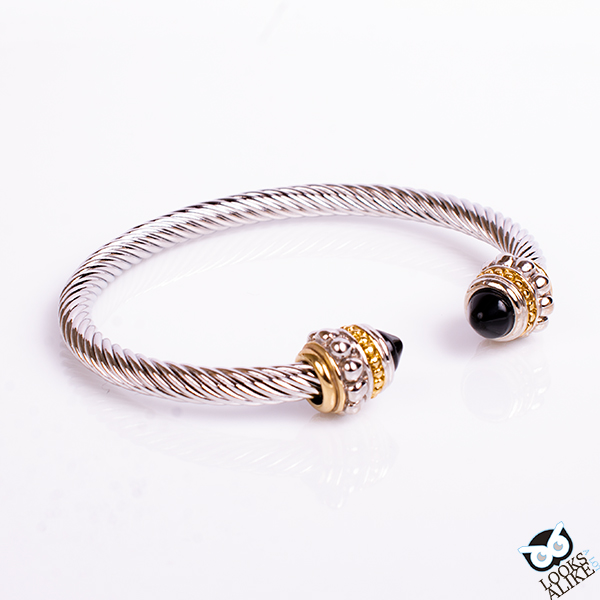 Genuine Onyx Beaded Cable Bangle