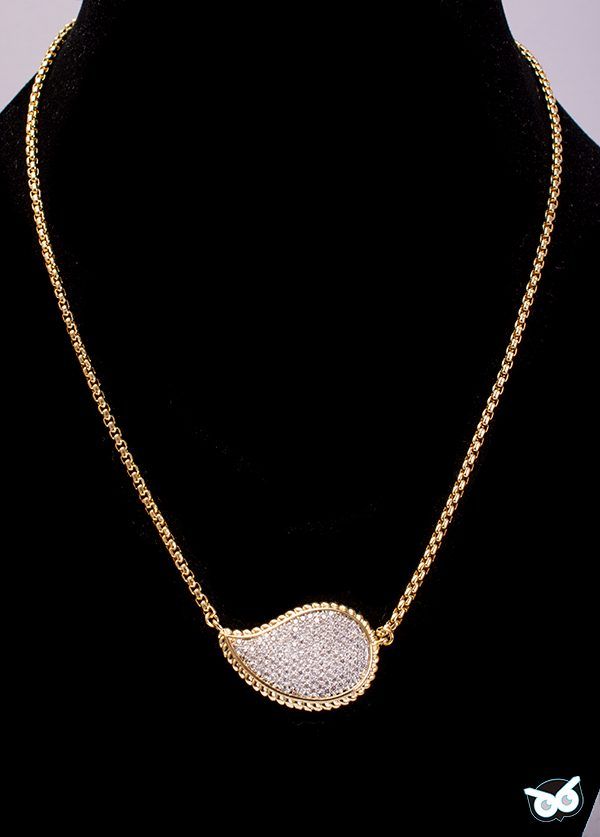 Dressy Pave Tear Drop Necklace