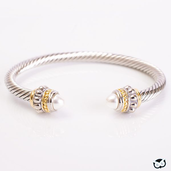 Pearl Beaded Cable Bangle